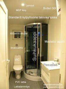Standardi kylpyhuone talovaunussa