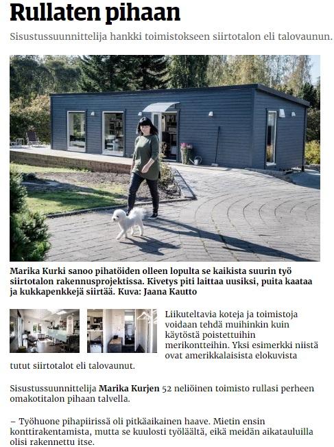 Talovaunu artikkeli Suomessa, sanomalehdessä, talotehdas, ratastelkodu, Viro, Eesti