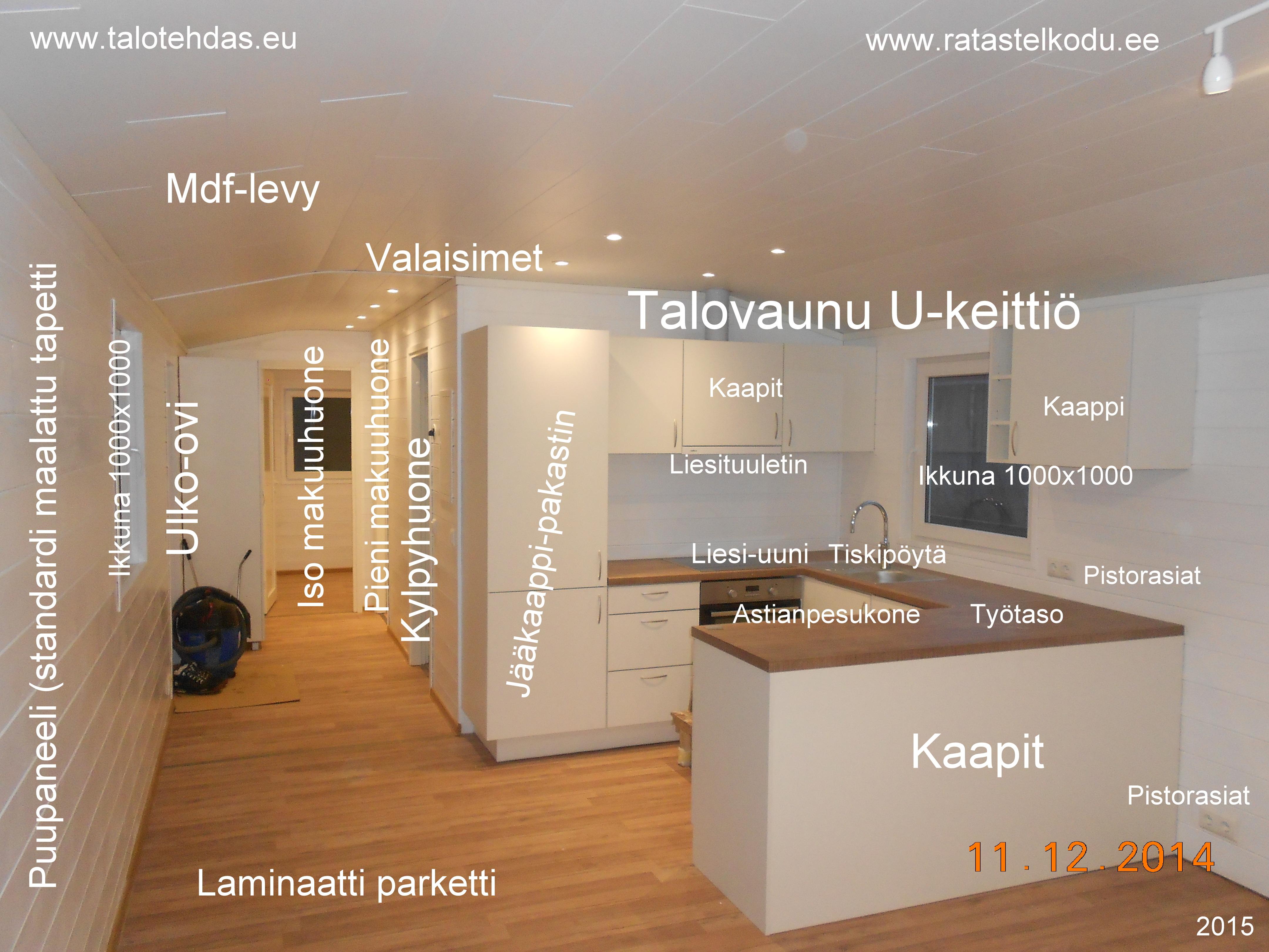 Talovaunu keittiö, u keittiö, talotehdas, viro, talopaketti virosta, ratastel