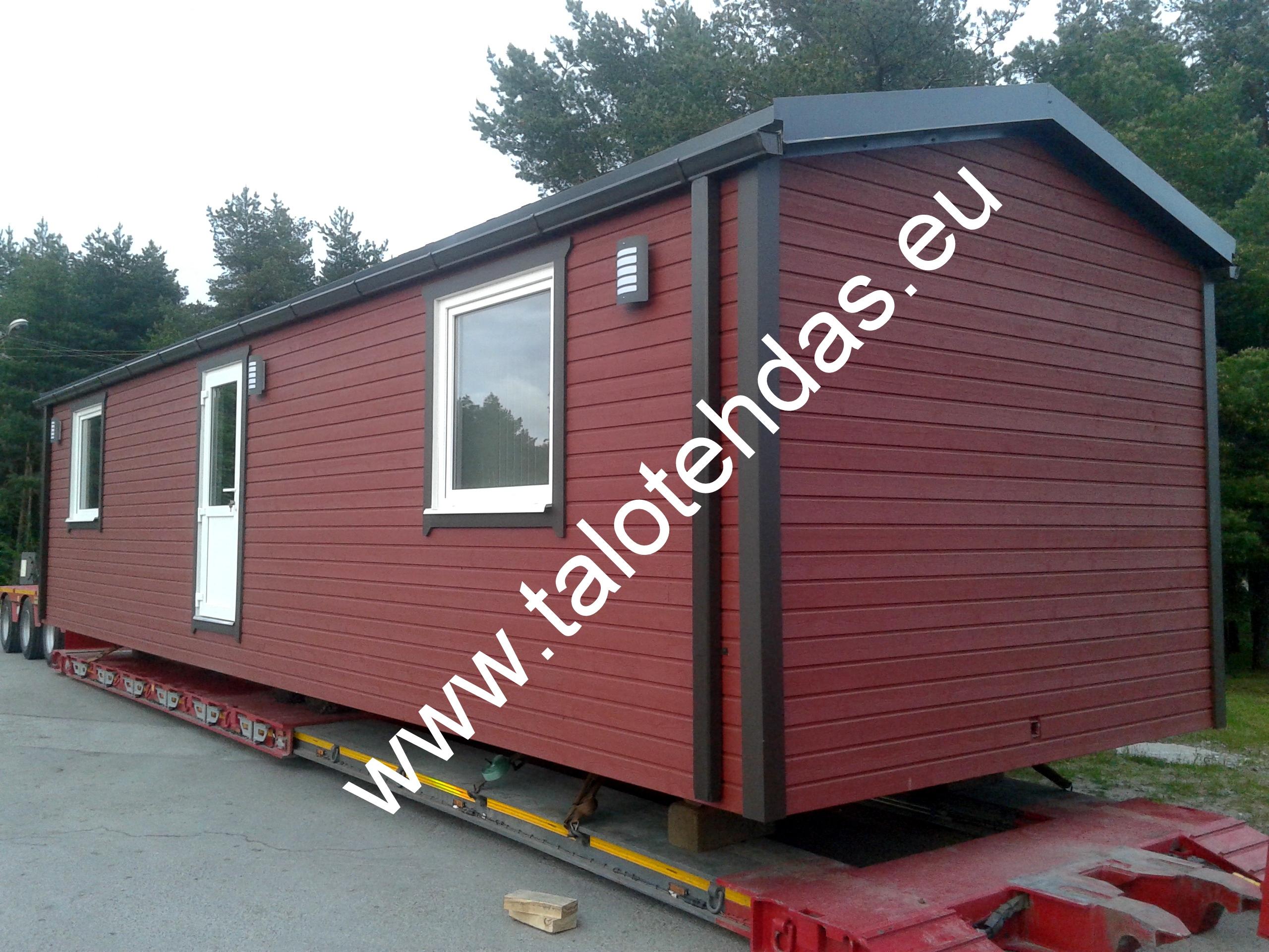 Talotehdas Virossa, talovaunut, elmenttitalo, tupla-leveä talovaunu, mobile home, static caravan