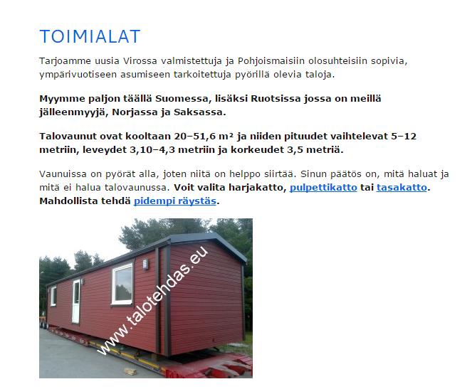 Talotehdas promo pildid, mobile homes, etusivu, ota yhteyttä, talovaunu