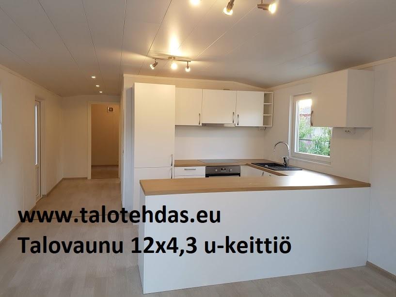 Talovaunu keittiö 12x4,3, liesi-uuni, astianpesukone jne