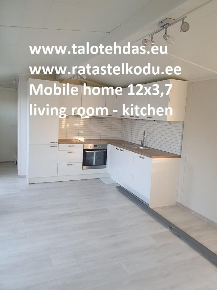 Talovaunu 12x3,7 L-keittiö