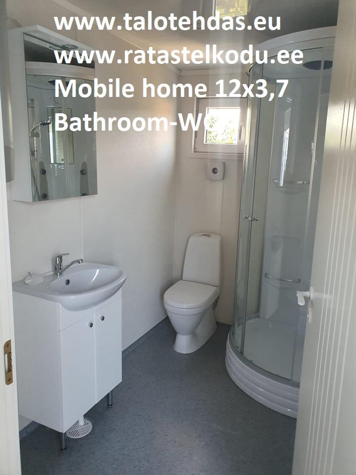Talovaunu 12x3,7 kylpyhuone, suihkukaappi, pesuallas, kaappi, lämminvesivaraaja, WC