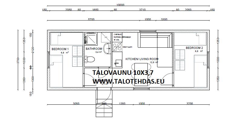 TALOVAUNU-ELEMENTTITALO 10X3,7 2 MKH KEITTIO OLOHUONE JA KYLPYHUONE